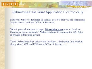 Submitting final Grant Application Electronically