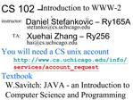 CS 102   Introduction to WWW-2