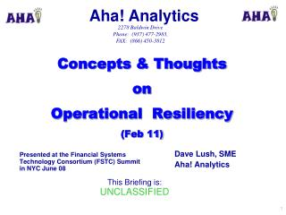 Concepts & Thoughts   on   Operational  Resiliency (Feb 11)