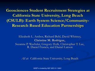 Elizabeth L. Ambos, Richard Behl, David Whitney,  Christine M. Rodrigue,