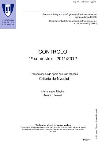 CONTROLO 1º semestre – 2011/2012