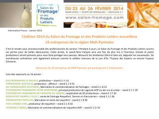 L ' édition 2014 du Salon du Fromage et des Produits Laitiers accueillera