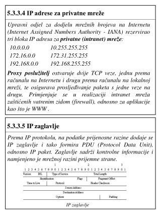 5.3.3.4  IP adrese za privatne mreže