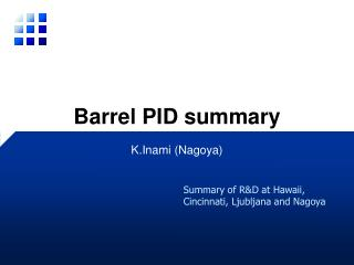 Barrel PID summary