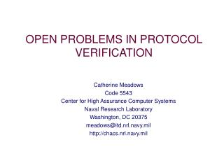 OPEN PROBLEMS IN PROTOCOL VERIFICATION