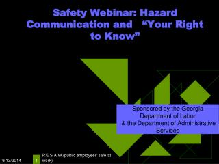 "Safety Webinar: Hazard Communication and   ""Your Right to Know"""