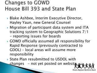 Changes to GOWD House Bill 393 and State Plan