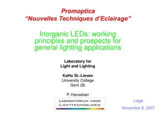 """Promoptica """"Nouvelles Techniques d'Eclairage"""""""