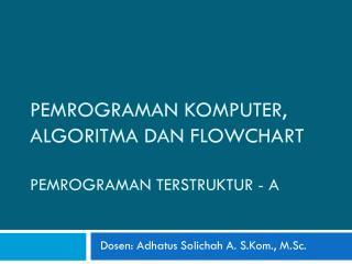 PEMROGRAMAN  KOMPUTER, ALGORITMA  dan  flowchart