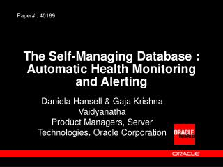 The Self-Managing Database : Automatic Health Monitoring and Alerting