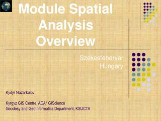 Module Spatial Analysis Overview