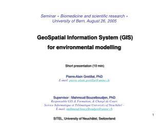 Seminar « Biomedicine and scientific research » University of Bern, August  26, 2005