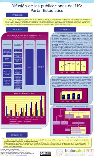 Difusión de las publicaciones del IIS:  Portal Estadístico