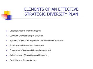 ELEMENTS OF AN EFFECTIVE  STRATEGIC DIVERSITY PLAN