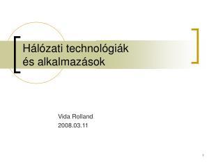 Hálózati technológiák és alkalmazások