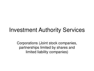 Investment Authority Services