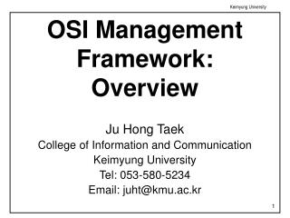 OSI Management Framework: Overview