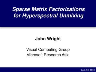 Sparse Matrix Factorizations for  Hyperspectral Unmixing