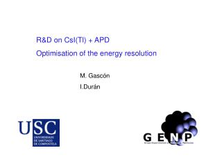 R&D on CsI(Tl) + APD Optimisation of the energy resolution