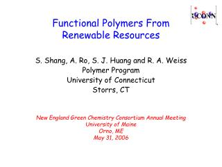 Functional Polymers From  Renewable Resources