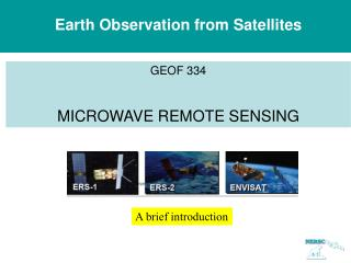 Earth Observation from Satellites