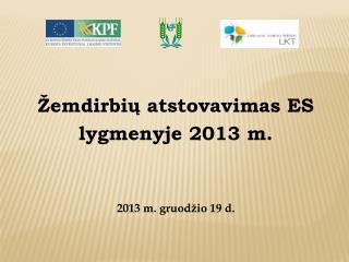 �emdirbi? atstovavimas  ES  lygmenyje  201 3  m. 201 3  m.  gruod�io  1 9 d.