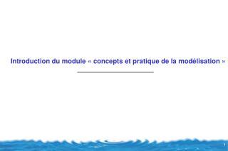 Introduction du module ��concepts et pratique de la mod�lisation��