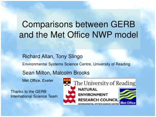 Comparisons between GERB and the Met Office NWP model