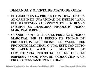 DEMANDA Y OFERTA DE MANO DE OBRA