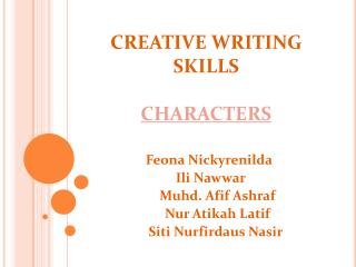CREATIVE WRITING SKILLS CHARACTERS