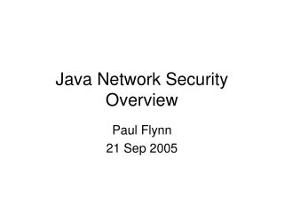 Java Network Security Overview