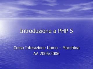 Introduzione a PHP 5