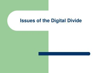 Issues of the Digital Divide