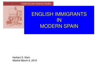 ENGLISH IMMIGRANTS IN  MODERN SPAIN