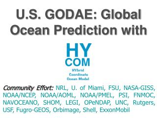 U.S. GODAE: Global Ocean Prediction with