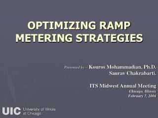OPTIMIZING RAMP METERING STRATEGIES