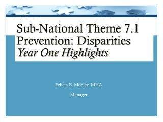 Sub-National Theme 7.1 Prevention: Disparities Year One Highlights
