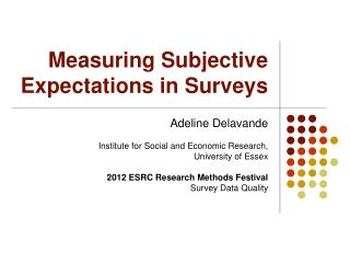 Measuring Subjective Expectations in Surveys