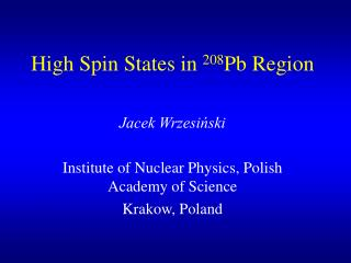 High Spin States in  208 Pb Region