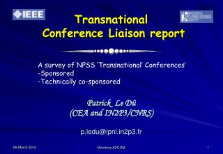 Transnational   Conference Liaison report