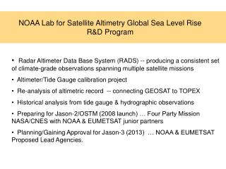 NOAA Lab for Satellite Altimetry Global Sea Level Rise R&D Program