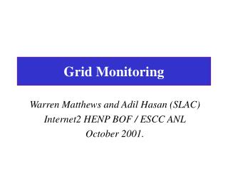 Grid Monitoring