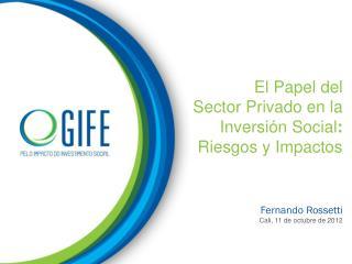 El Papel  del Sector Privado  en la Inversión  Social : Riesgos  y Impactos Fernando Rossetti