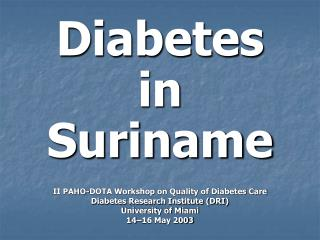 Diabetes in Suriname