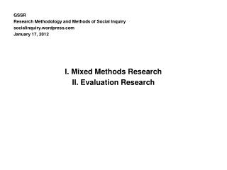 GSSR Research Methodology and Methods of Social Inquiry socialinquiry.wordpress