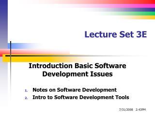 Lecture Set 3E