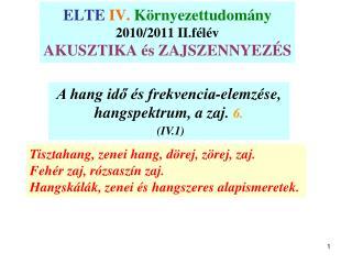 ELTE IV.  Környezettudomány 2010/2011 II.félév AKUSZTIKA és ZAJSZENNYEZÉS