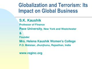 Globalization and Terrorism: Its Impact on Global Business