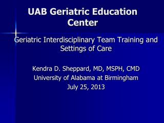 UAB Geriatric Education Center