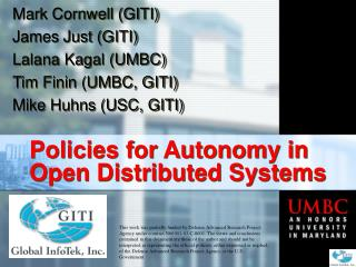 Policies for Autonomy in Open Distributed Systems